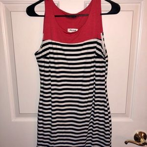 Dress with red/black and white stripes